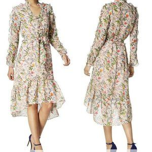 Julia Jordan Floral  Ruffled Sheer Midi Dress NWT